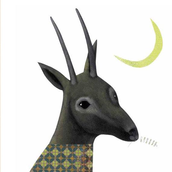 Gazzella Saudita - Illustrazione di Arianna Papini da Cari estinti, edizione Kalandraka