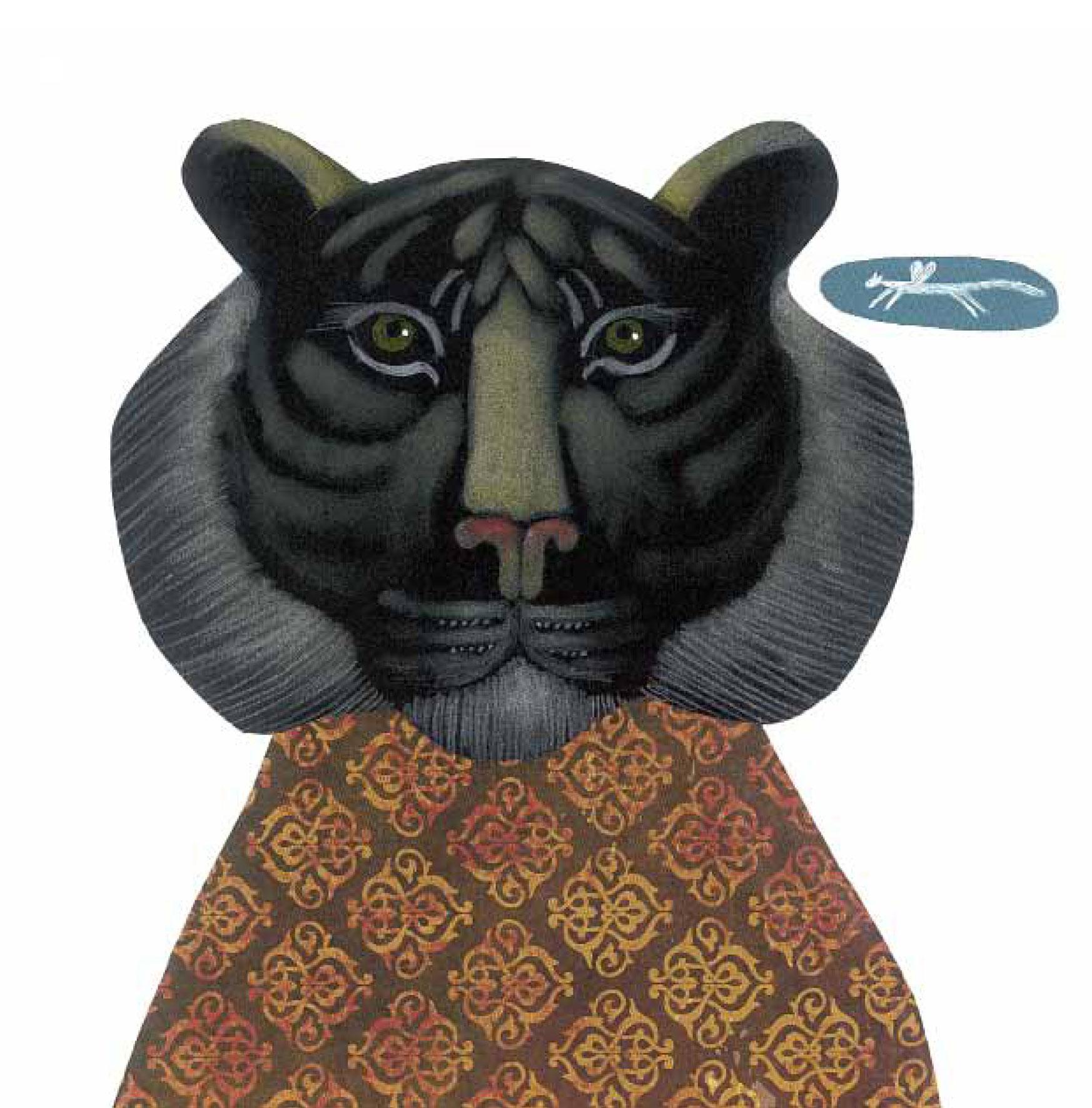 """Tigre di Giava - Illustrazione di Arianna Papini da """"Cari estinti"""", Edizione Kalandraka"""